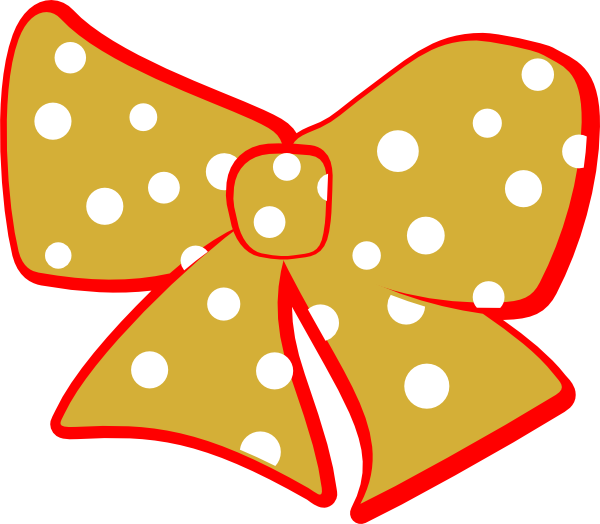 R clipart polka dot. Red gold cheer bow