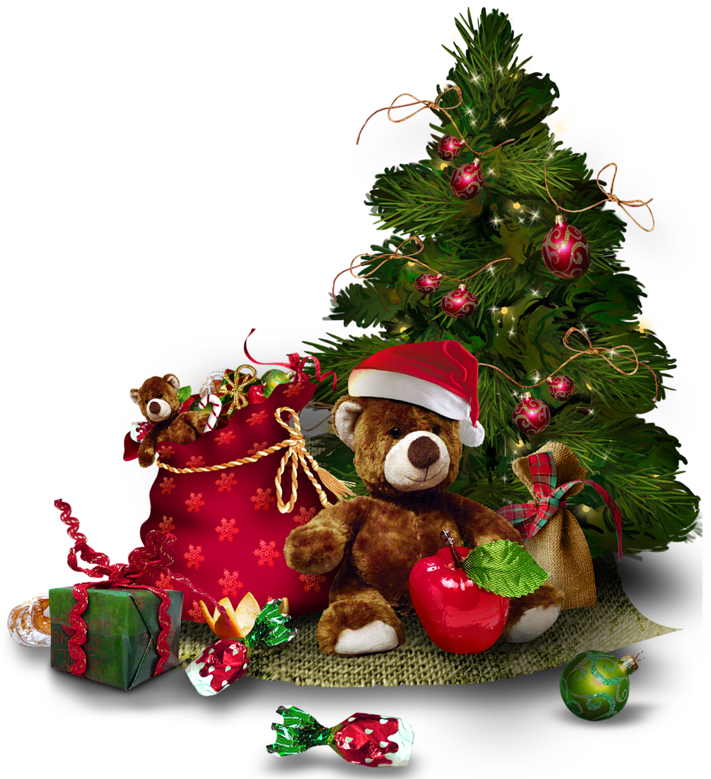 Transparent tree with teddy. Clipart bear christmas