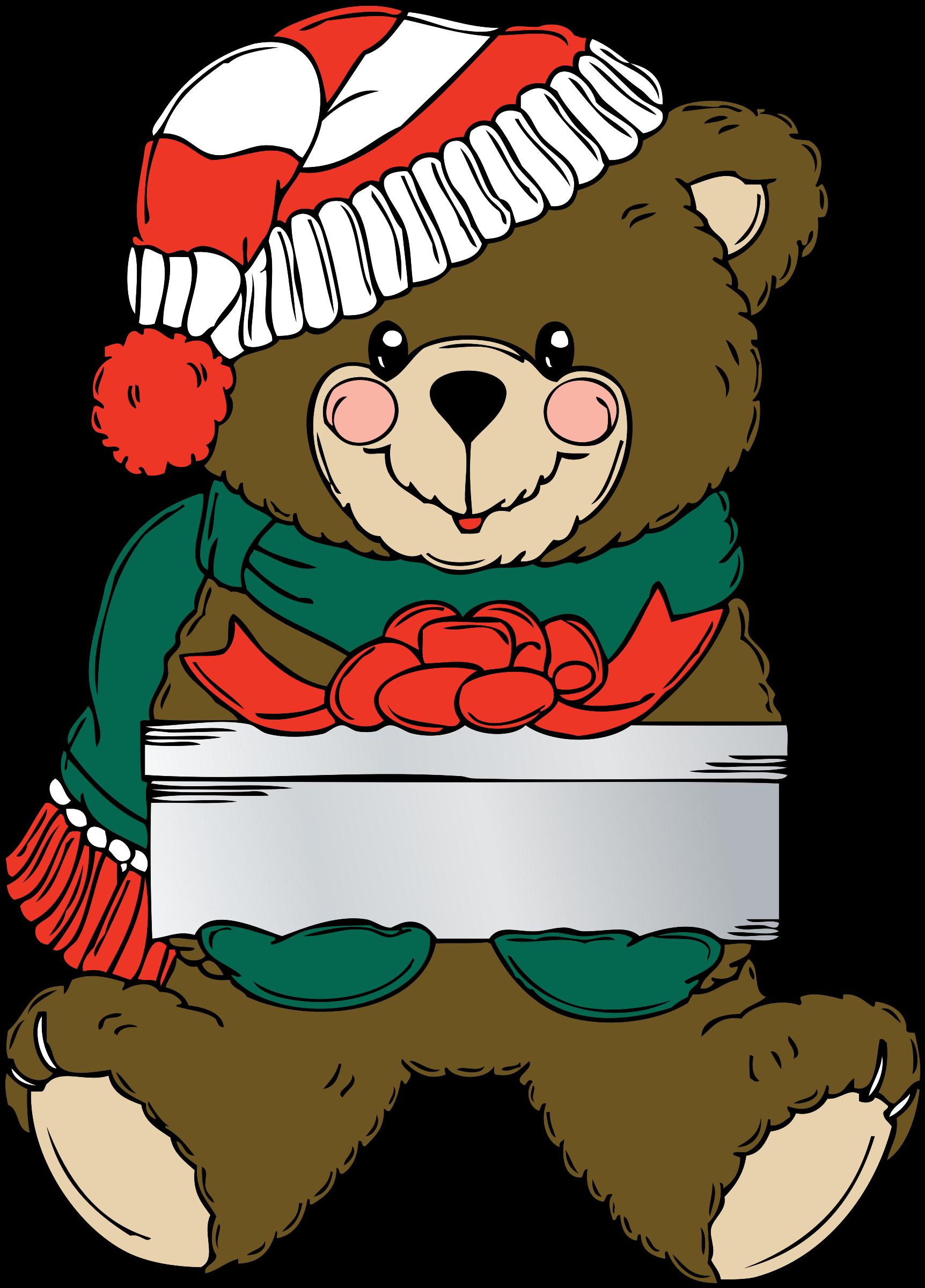 Clipart bear christmas. Wih present big image