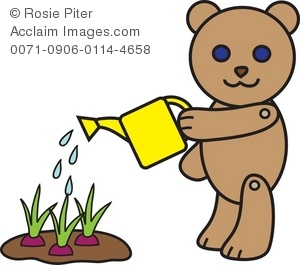 Watering stock photography acclaim. Clipart bear garden