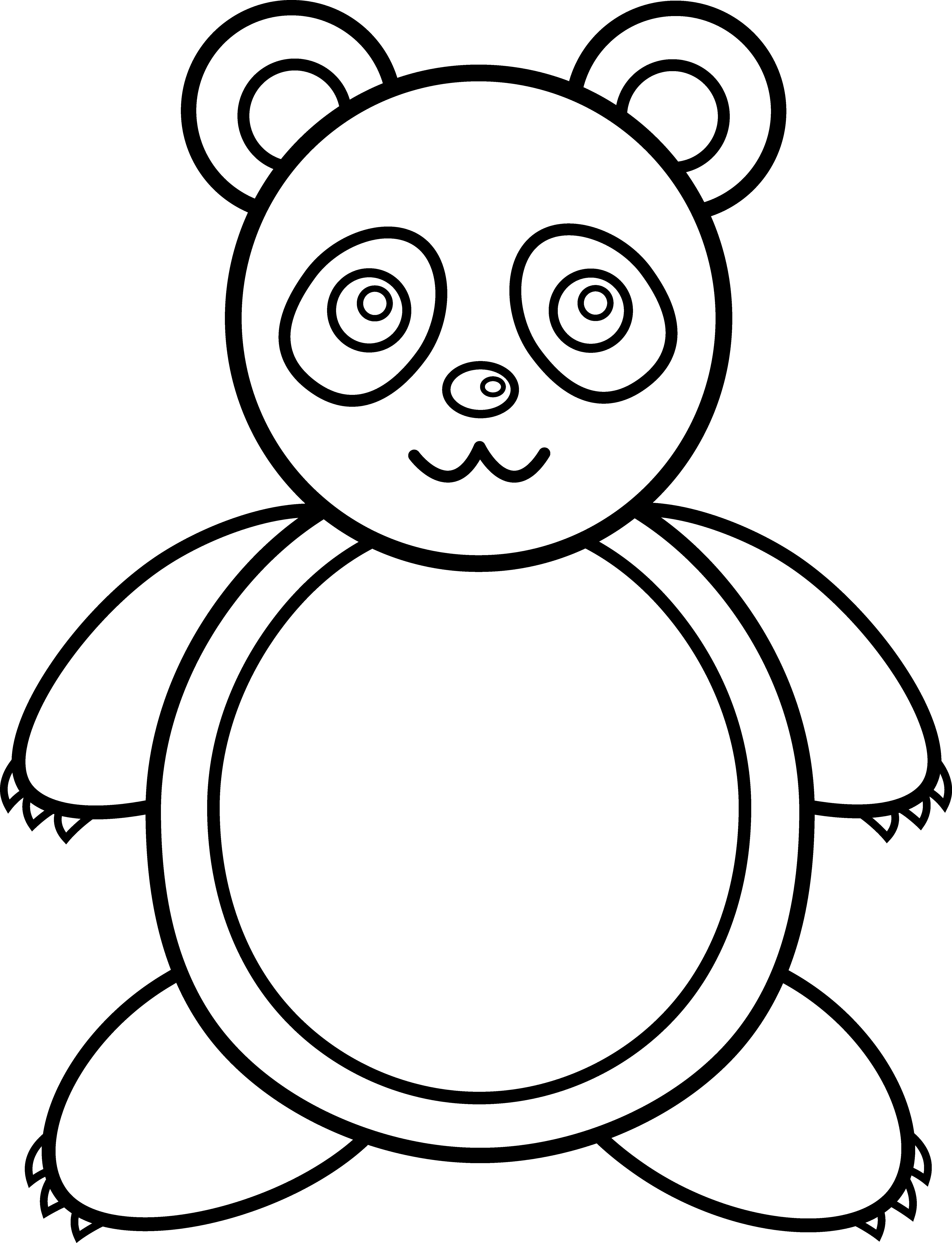 Line art free clip. Clipart bear giant panda