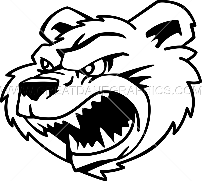 Growling production ready artwork. Head clipart black bear