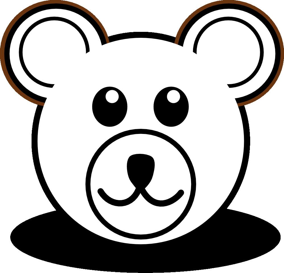 Bear head black and. Website clipart line art