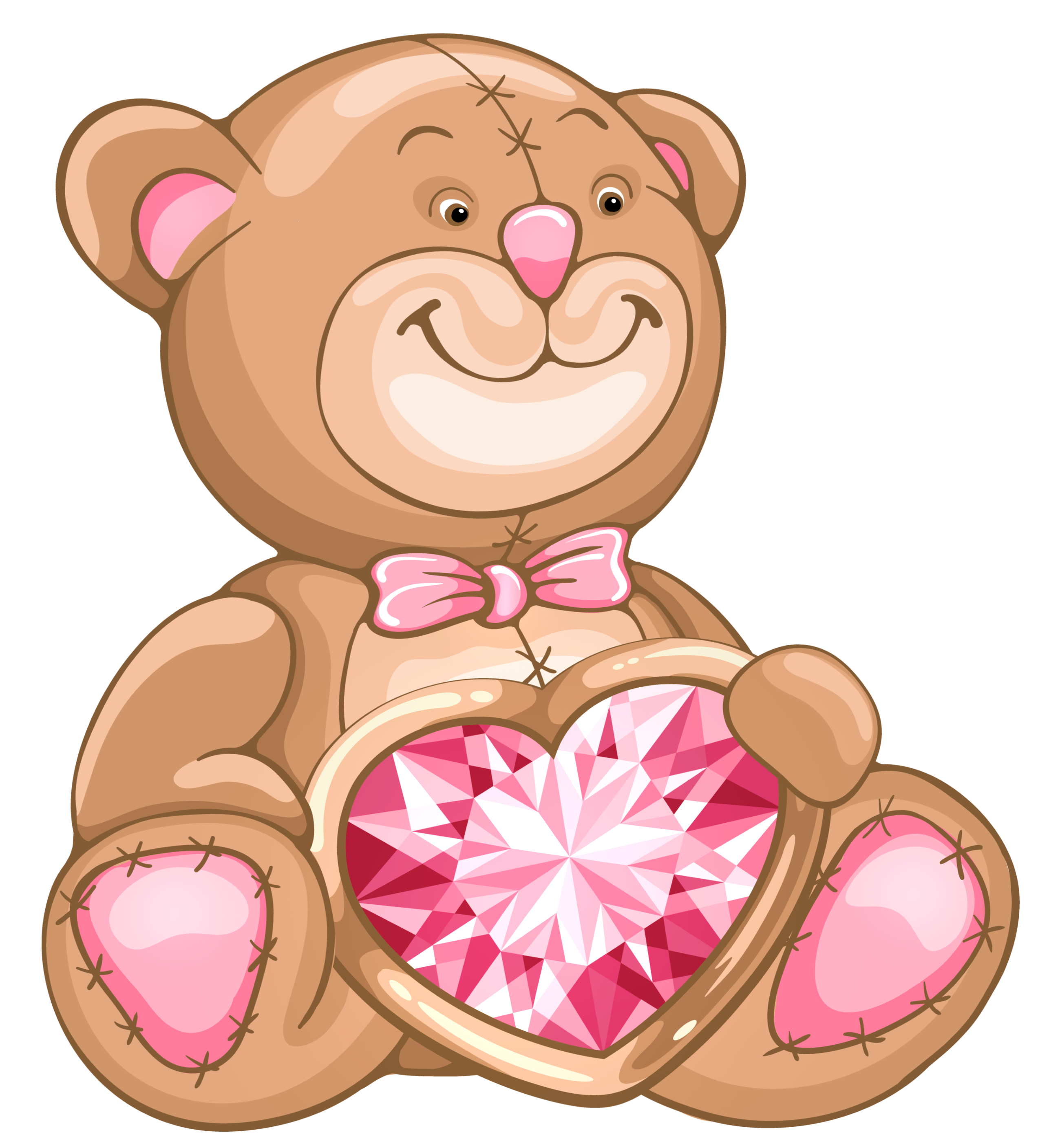Transparent teddy with diamond. Clipart bear heart