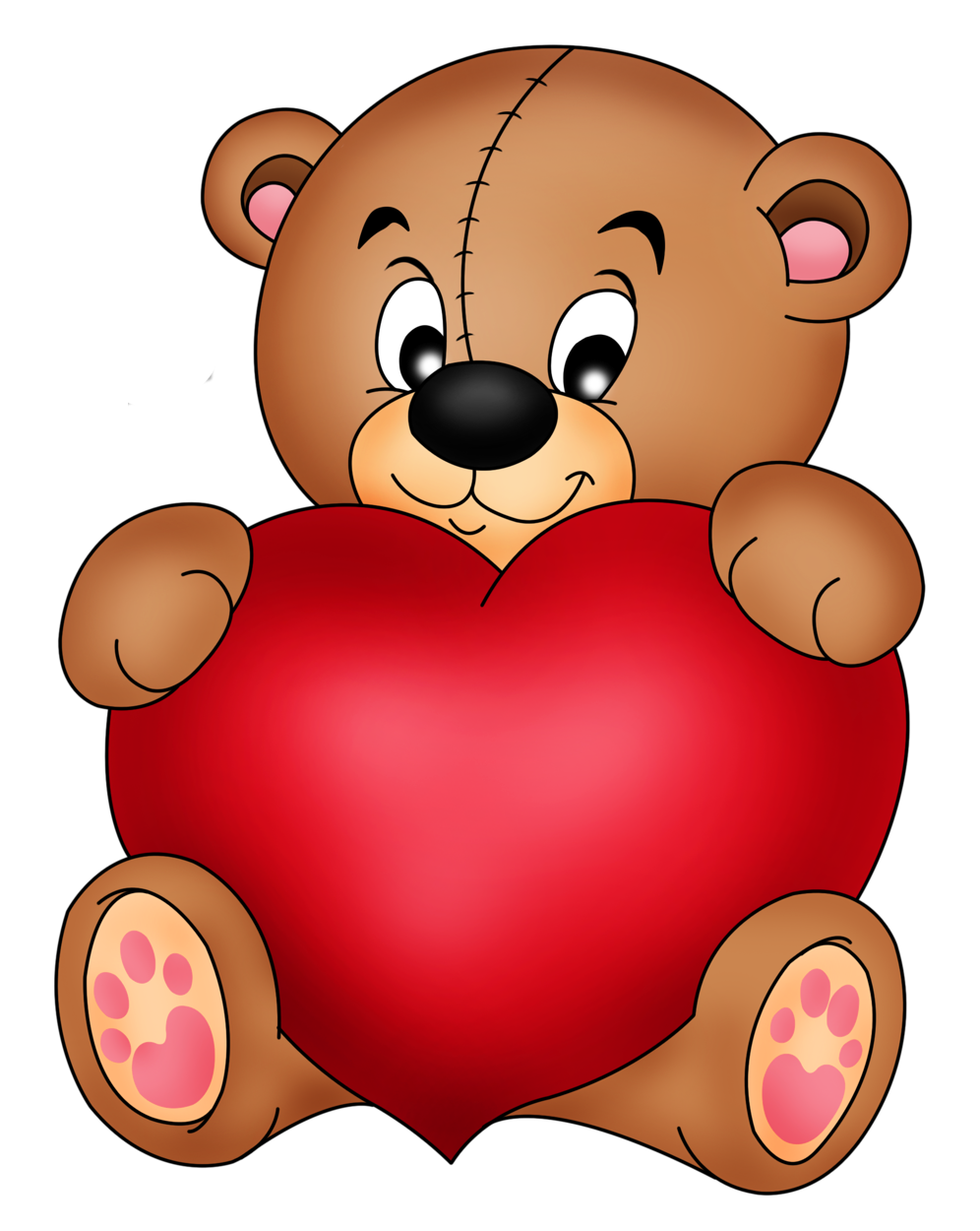 Valentine clipart hug. Brown teddy with red