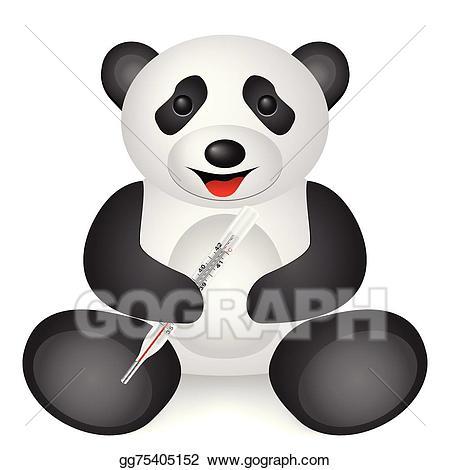 Vector stock panda thermometer. Clipart bear medical