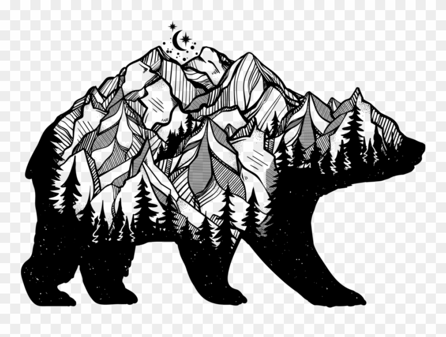 Set with mountains pinclipart. Hunting clipart bear mountain