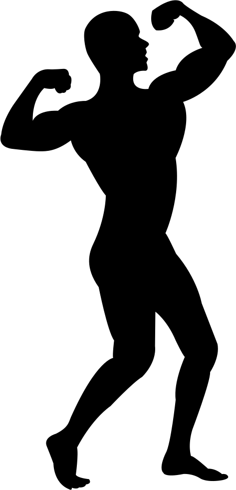 Hands clipart muscular. Muscle man silhouette clip