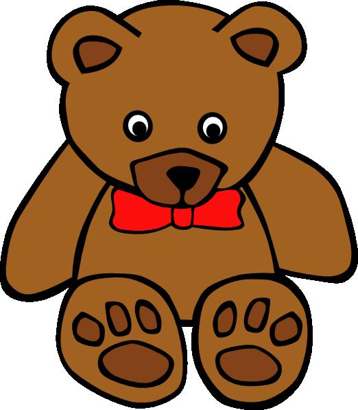 Simple teddy with bow. Clipart bear orange