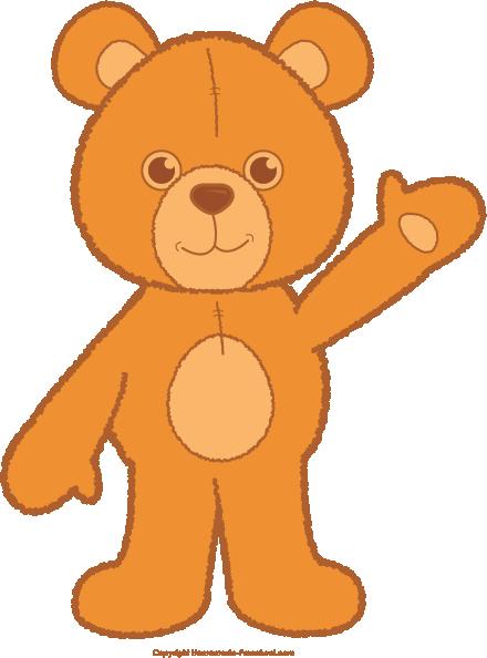 Teddy waving free cliparts. Clipart bear orange