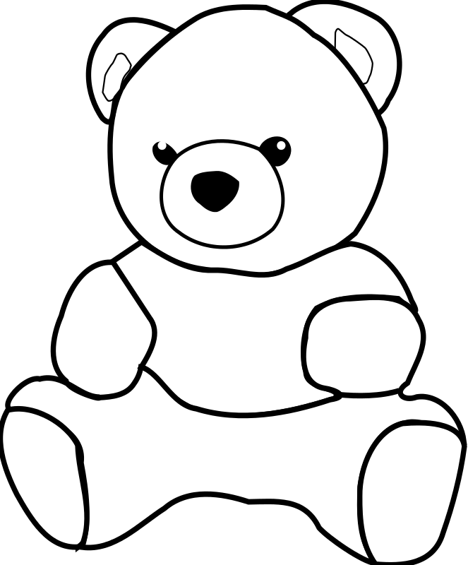 Diapers clipart outline. Teddy bear by dkdlv