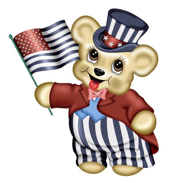 Teddy clip art pinterest. Clipart bear patriotic