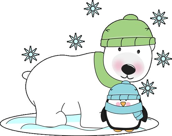 Winter and penguin clip. Clipart penquin polar bear