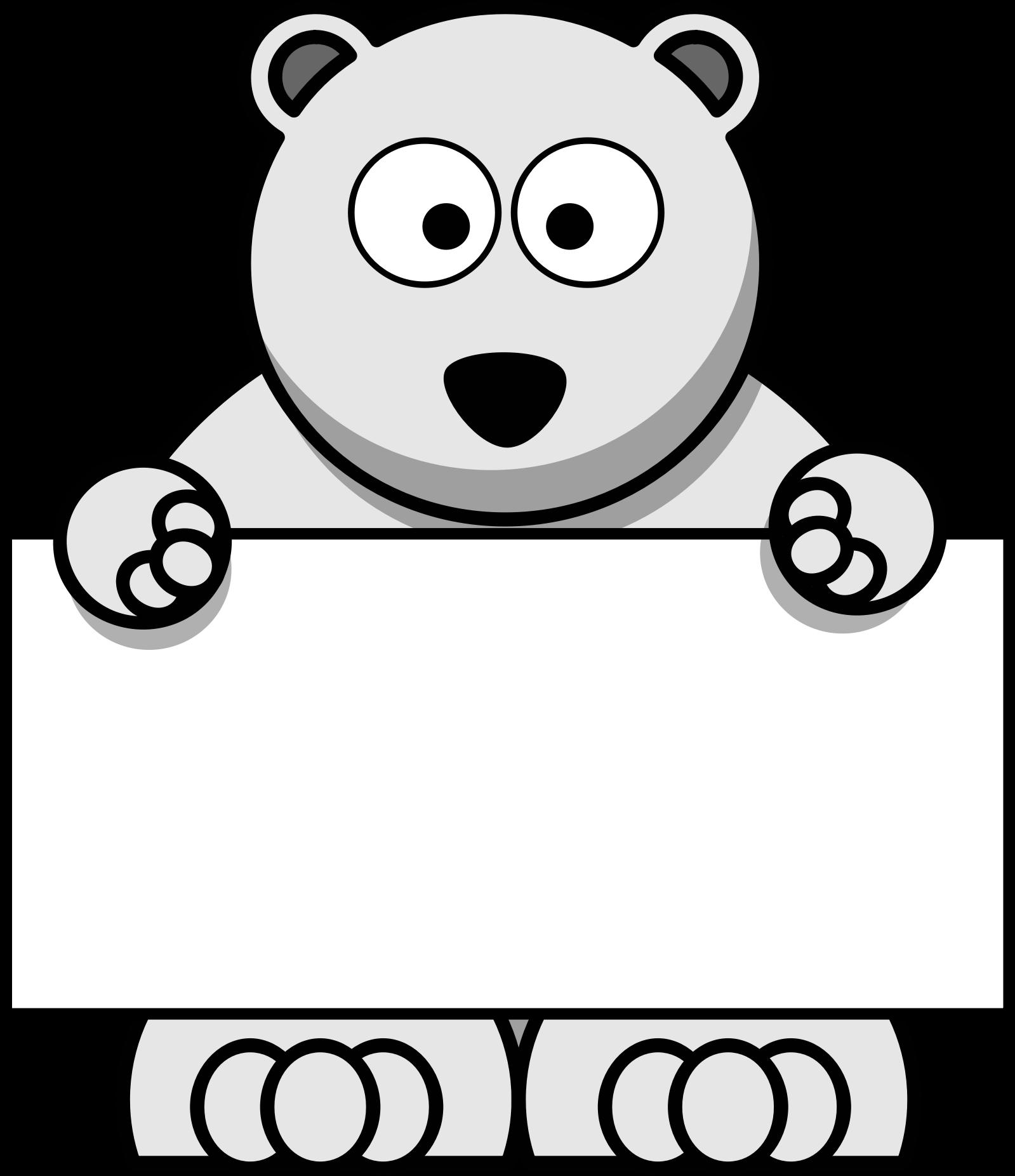 Clipart bear polar bear. Sign holding big image