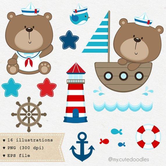 Nautical clipart nursery. Sailor bear baby navy