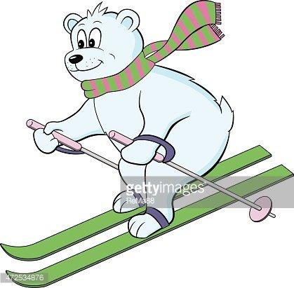 Clipart bear skiing. Polar premium clipartlogo com