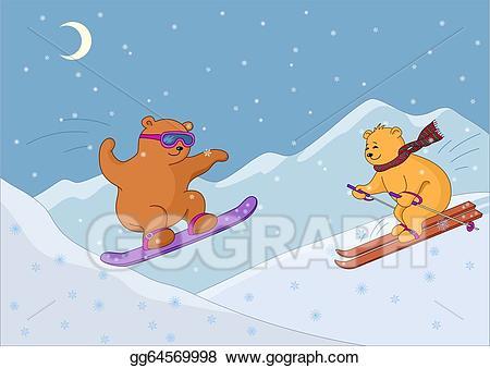 Eps illustration teddy bears. Clipart bear skiing