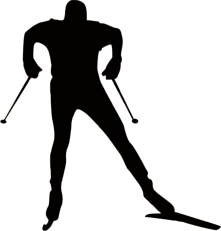 Girl clipart skiing. Nordic skier silhouette at