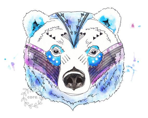 Grizzly blue tribal watercolour. Clipart bear spirit bear