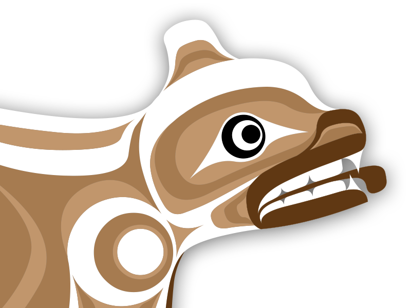 Klahowya village in stanley. Clipart bear spirit bear