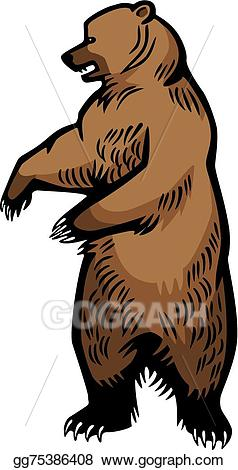 Clipart bear standing. Eps vector grizzly up