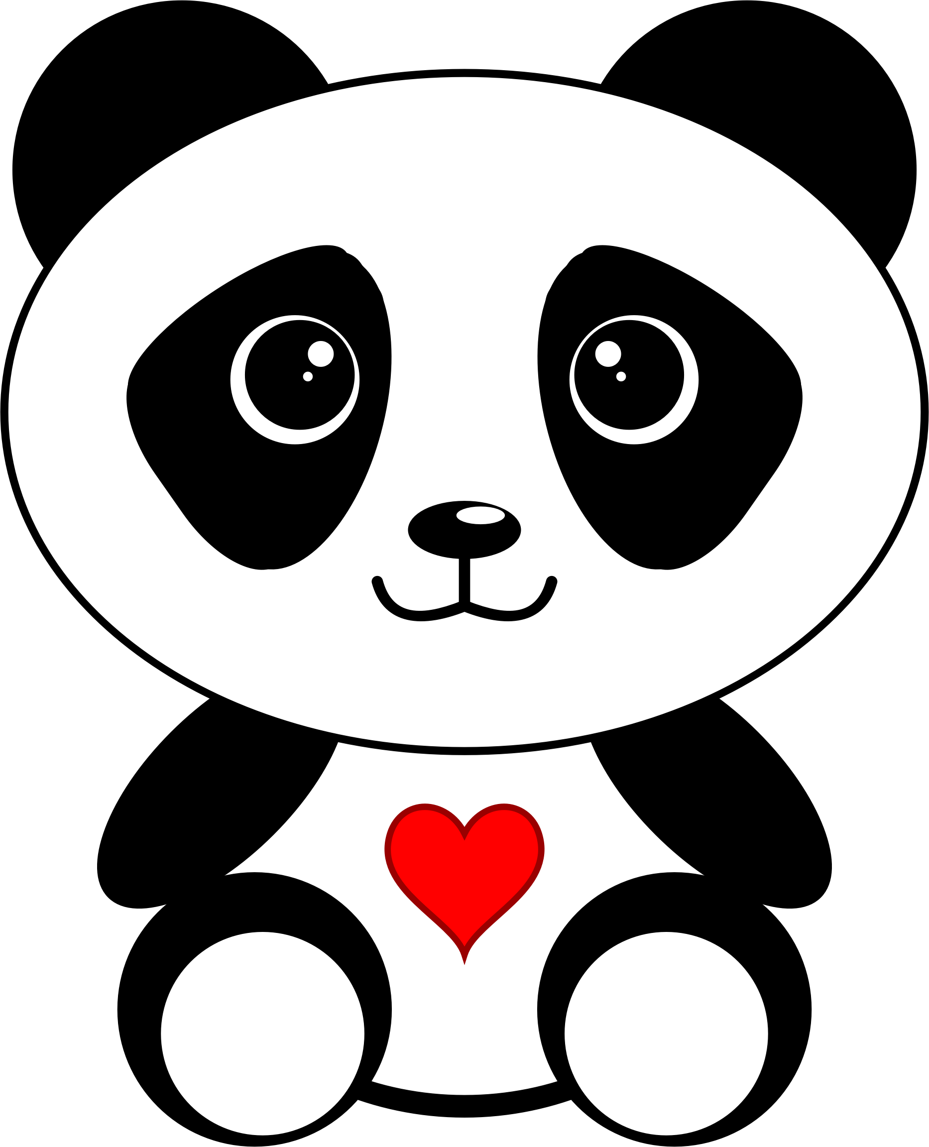 Panda clipart heart. With a big image