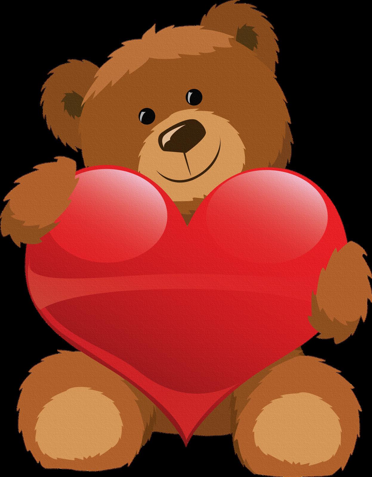 Oso con corazon para. Hearts clipart bear