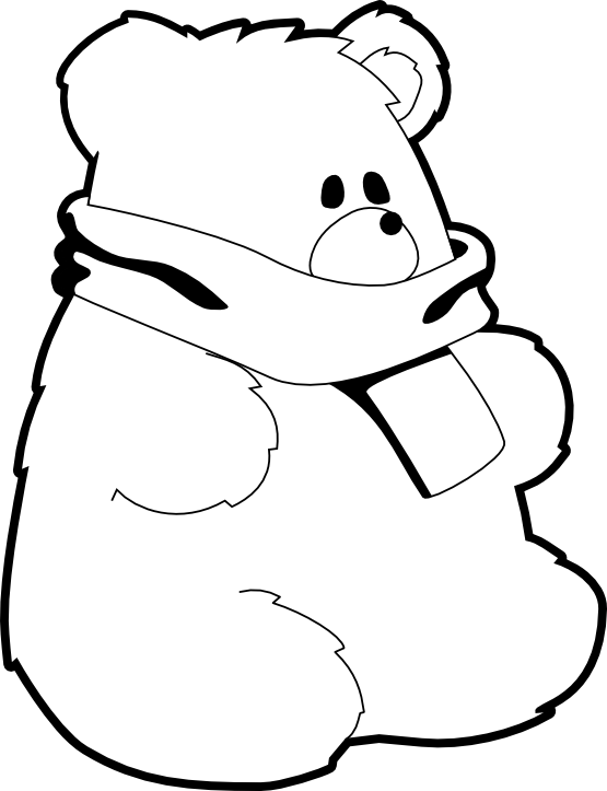 Scarf pinart cute teddy. Mittens clipart black and white