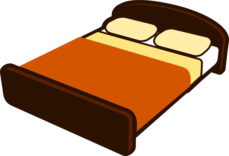 Furniture clipart small bed. Brown with blanket medium