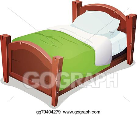 Clipart bed. Vector art wood with