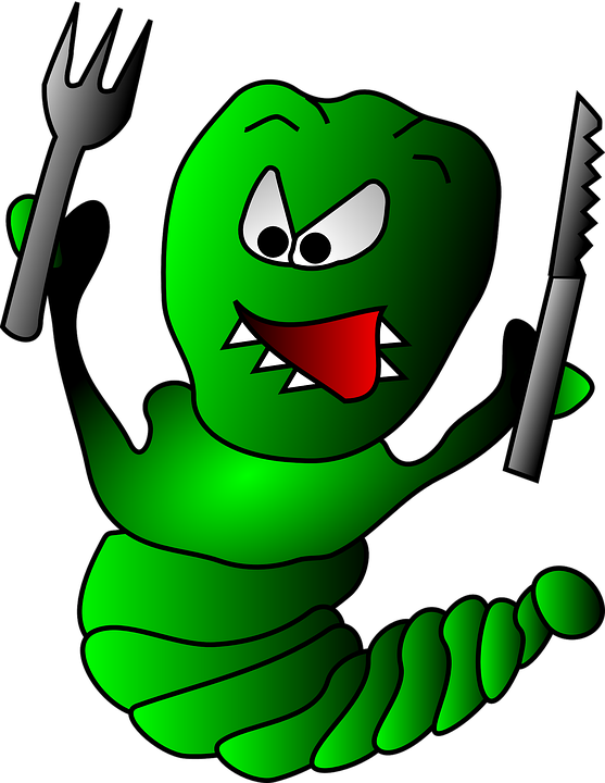 worm clipart eating plant