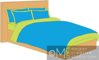 Clipart bed bed linen. Illustration clip art with