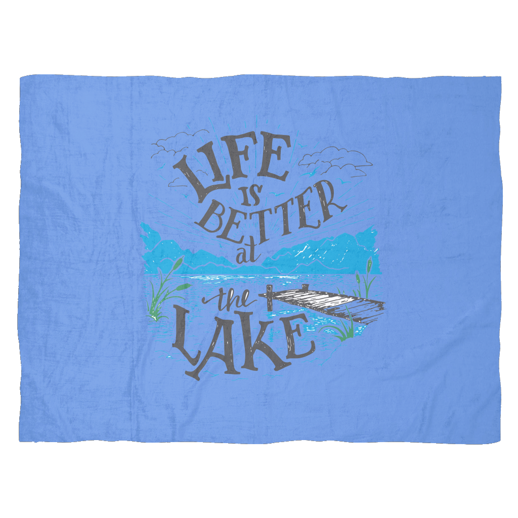 Fleece lake life deal. Clipart bed blanket pillow