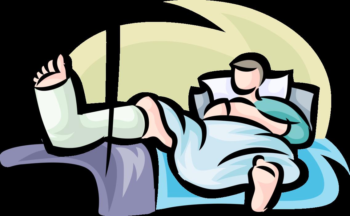 Clipart bed broken bed. Patient with leg in