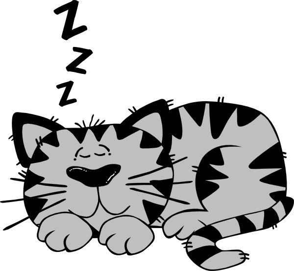 Clipart cat stencil. Sleeping in bed free