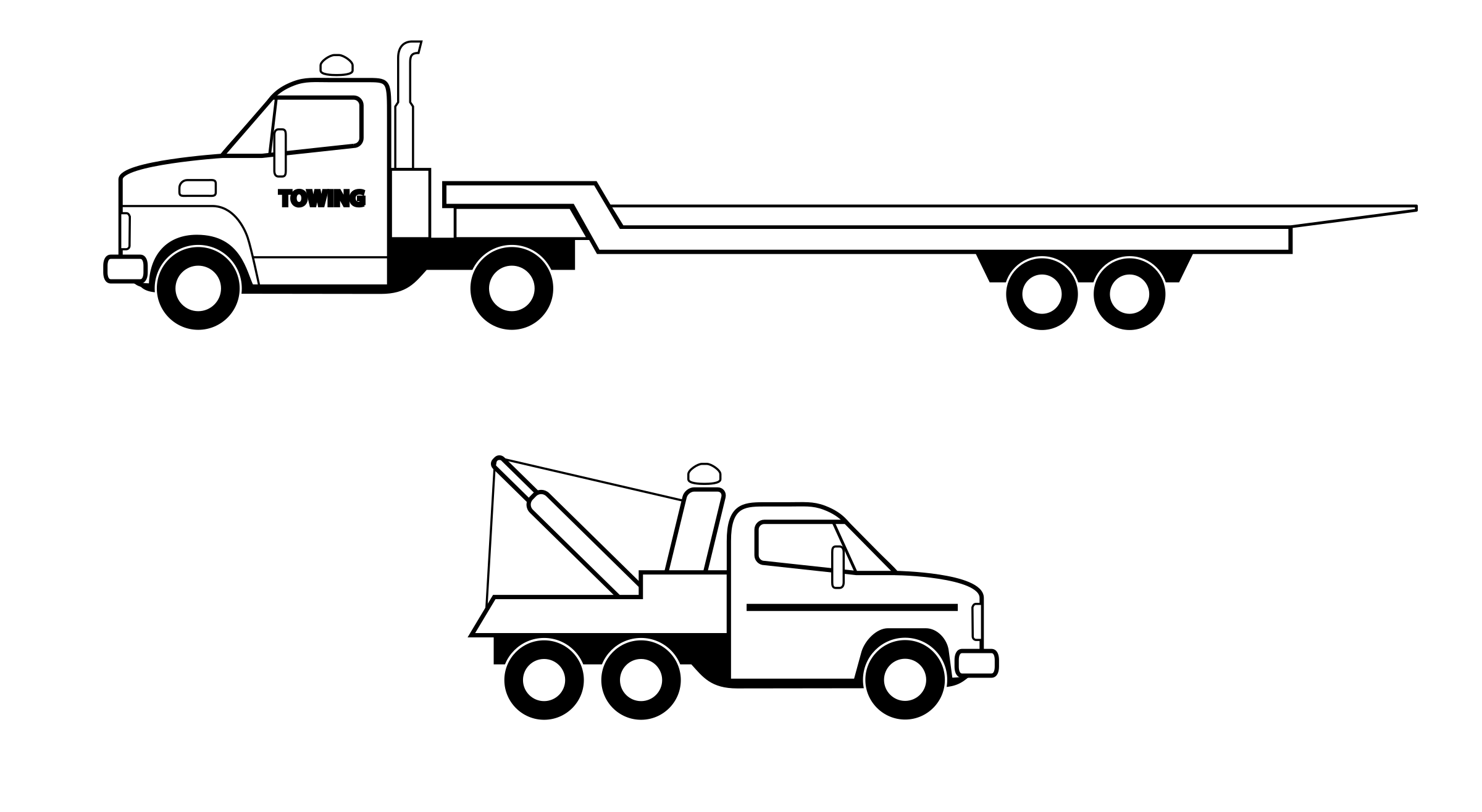 Clipart bed coloring. Deux camions noirs big