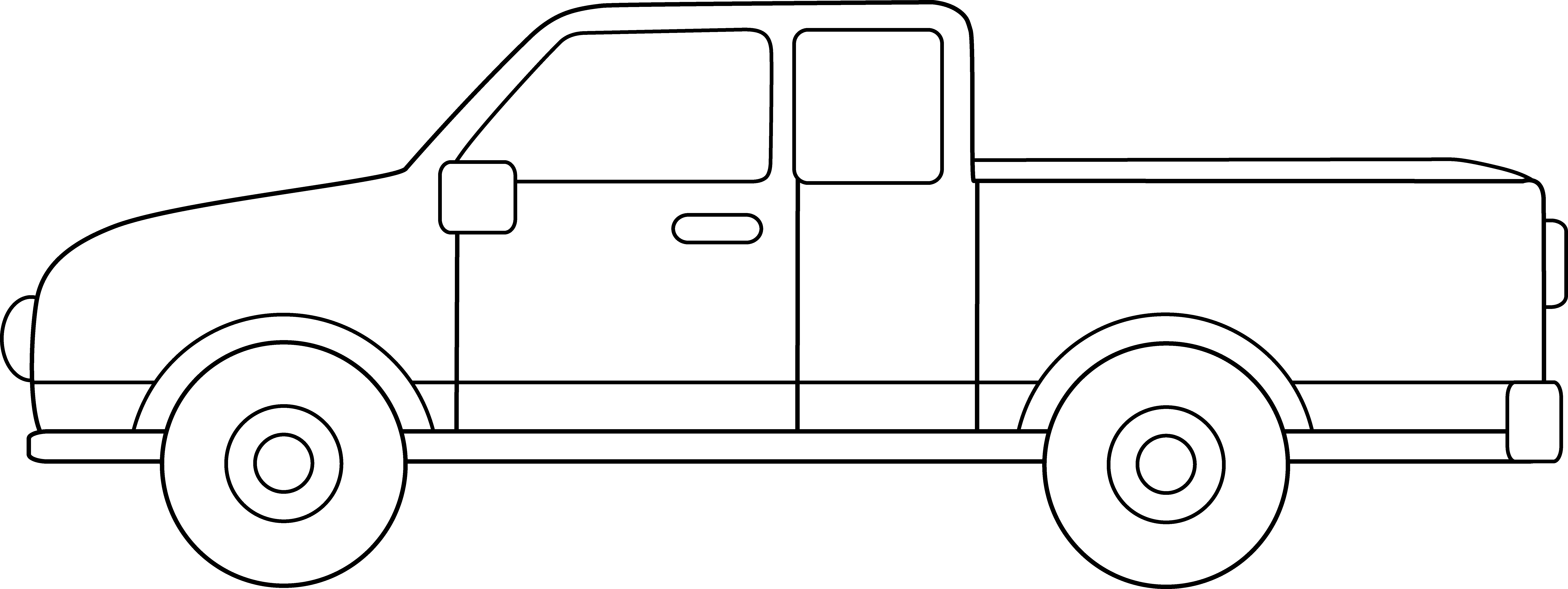 Minivan clipart black and white. Pickup truck coloring page