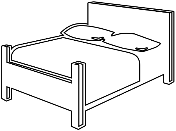 Free bedroom page of. Clipart bed coloring