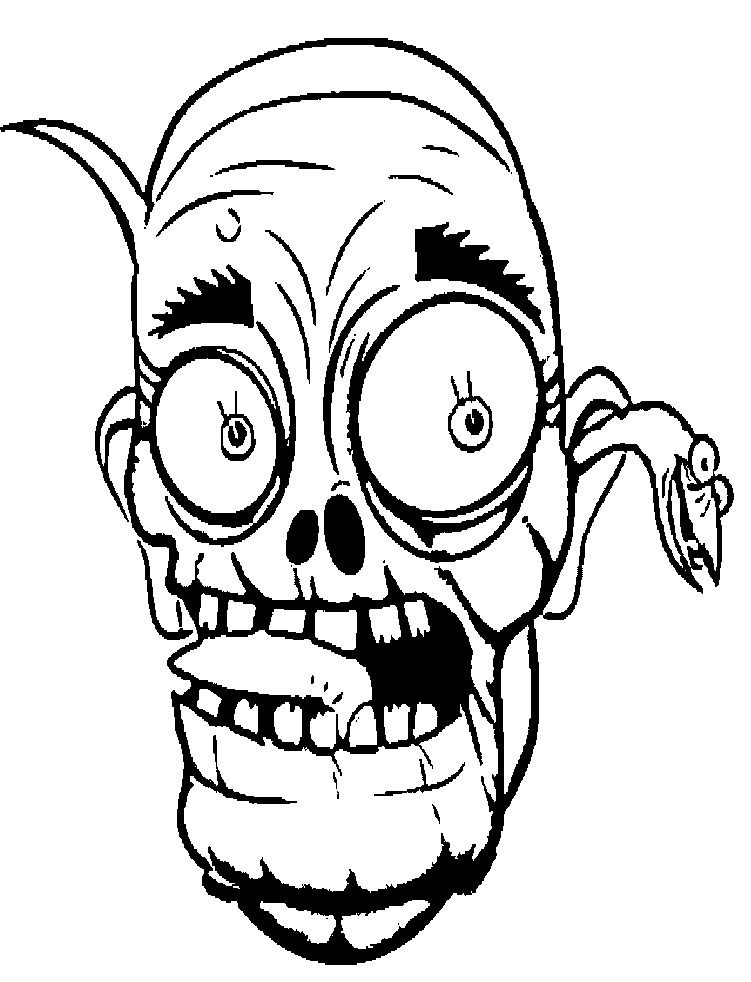 Face zombie coloring for. Clipart bed colouring page