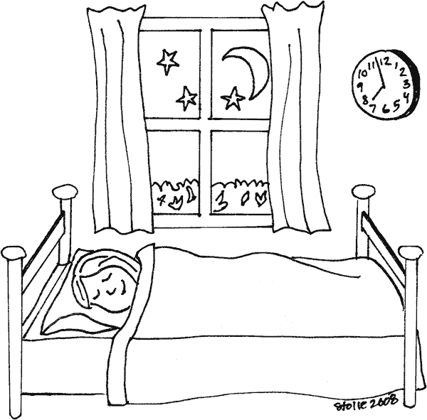 Clipart bed colouring page.  collection of sleeping