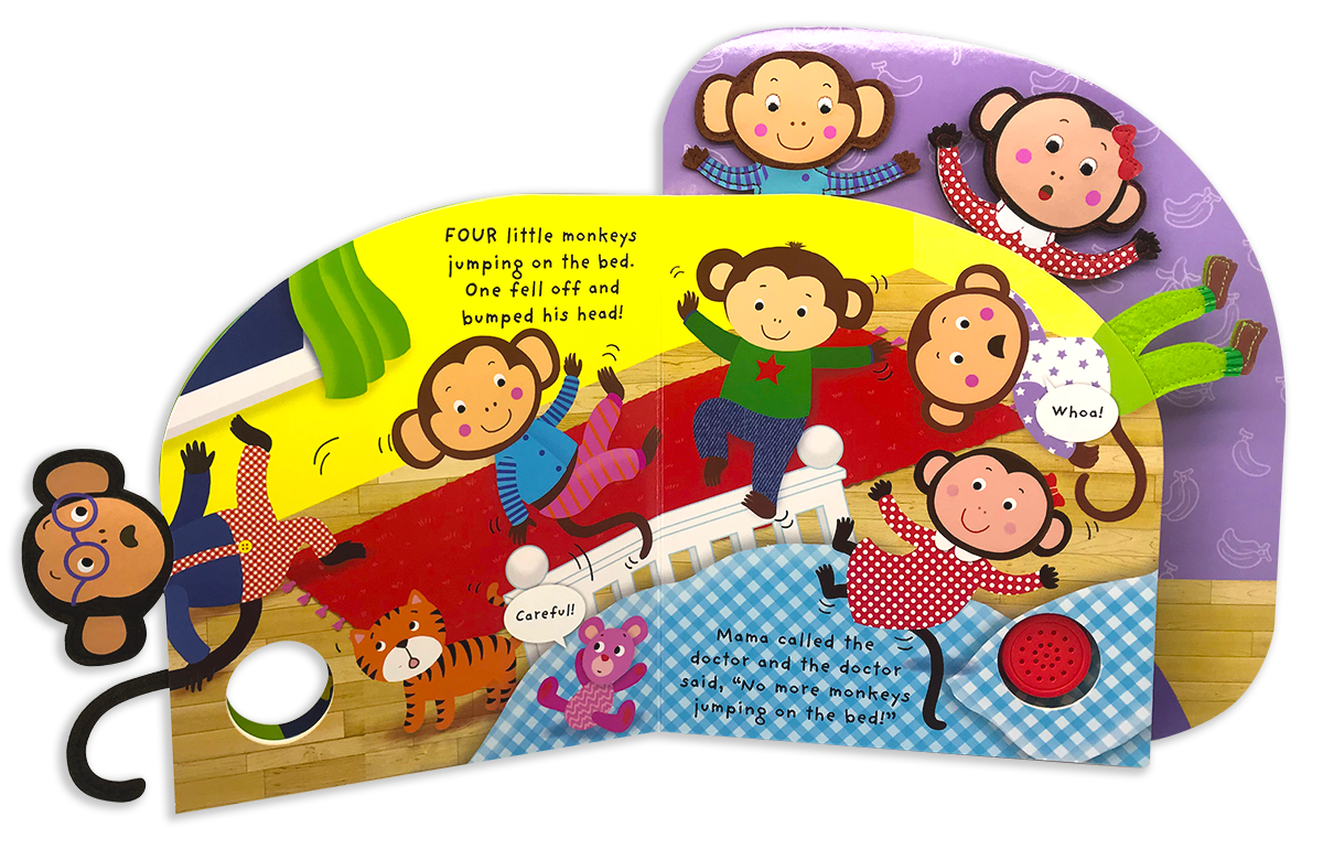 clipart bed five little monkeys