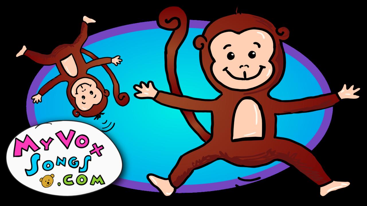 Nursery rhymes video . Clipart bed five little monkeys
