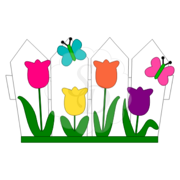 Tulip bed clipground flower. Fence clipart cute