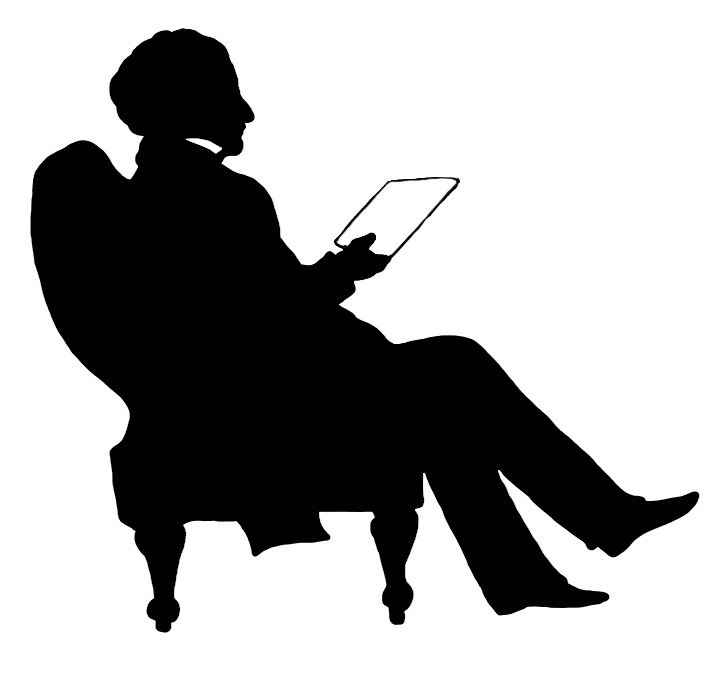 Silhouette of man sitting. Guy clipart typing