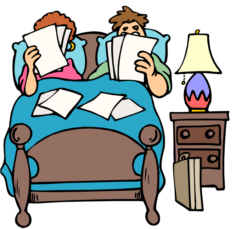 Together in bed . Furniture clipart animated