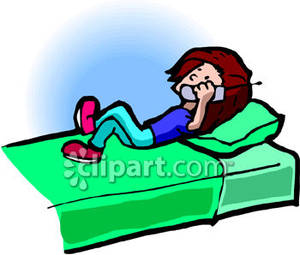 Clipart bed phone in. A person talking on