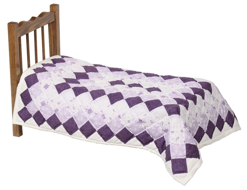 Amish doll bed quilt. Quilting clipart pink