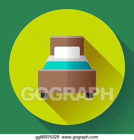 Eps illustration hotel icon. Clipart bed single room
