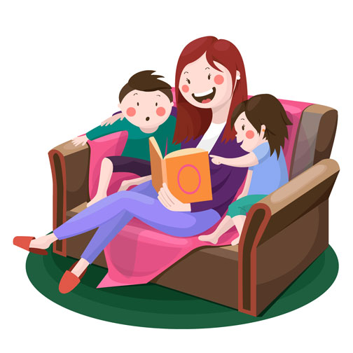 Bedtime . Clipart bed story