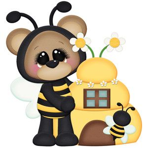With beehive new patterns. Clipart bee bear